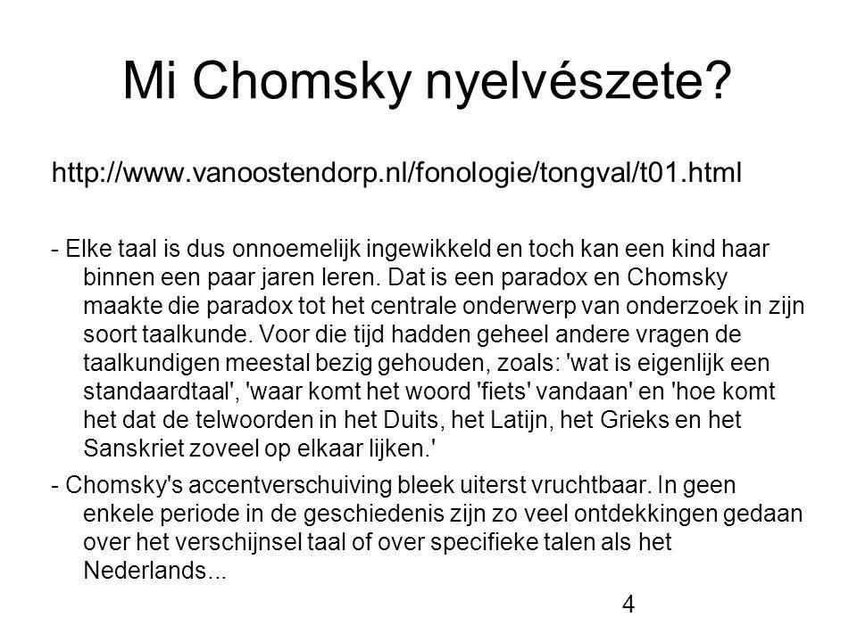 4 Mi Chomsky nyelvészete? http://www.vanoostendorp.nl/fonologie/tongval/t01.html - Elke taal is dus onnoemelijk ingewikkeld en toch kan een kind haar