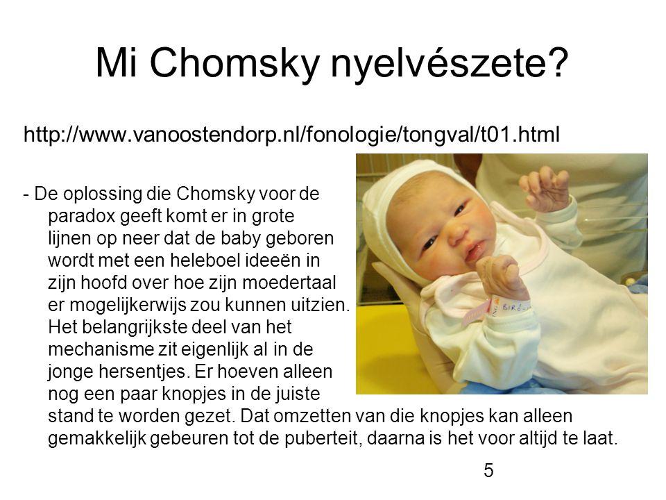5 Mi Chomsky nyelvészete? http://www.vanoostendorp.nl/fonologie/tongval/t01.html - De oplossing die Chomsky voor de paradox geeft komt er in grote lij
