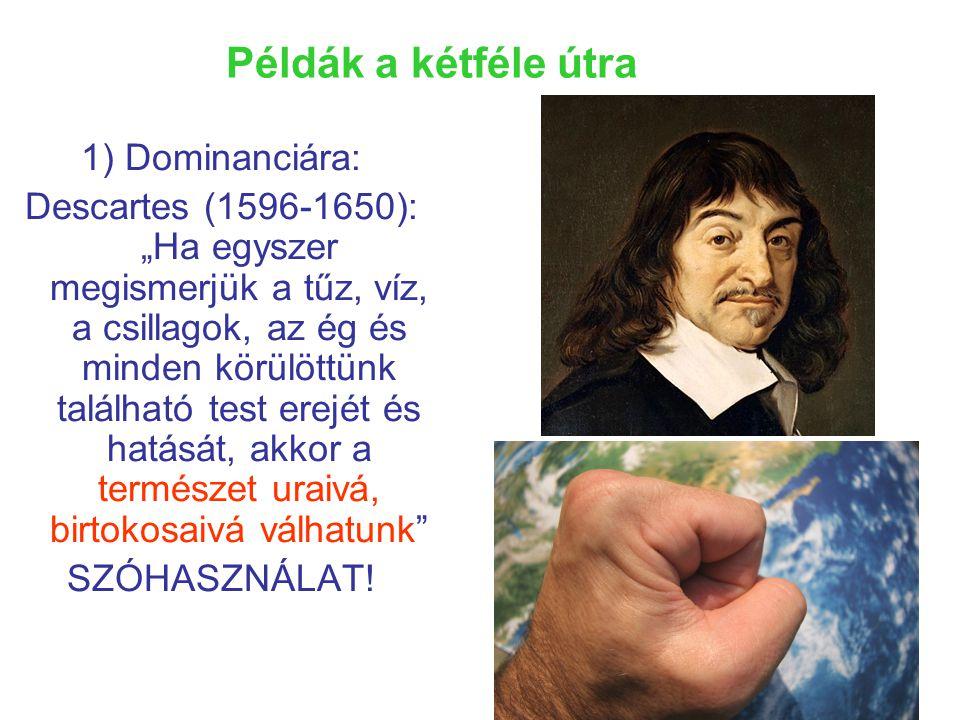 """Példák a kétféle útra 1) Dominanciára: Descartes (1596-1650): """"Ha egyszer megismerjük a tűz, víz, a csillagok, az ég és minden körülöttünk található test erejét és hatását, akkor a természet uraivá, birtokosaivá válhatunk SZÓHASZNÁLAT!"""