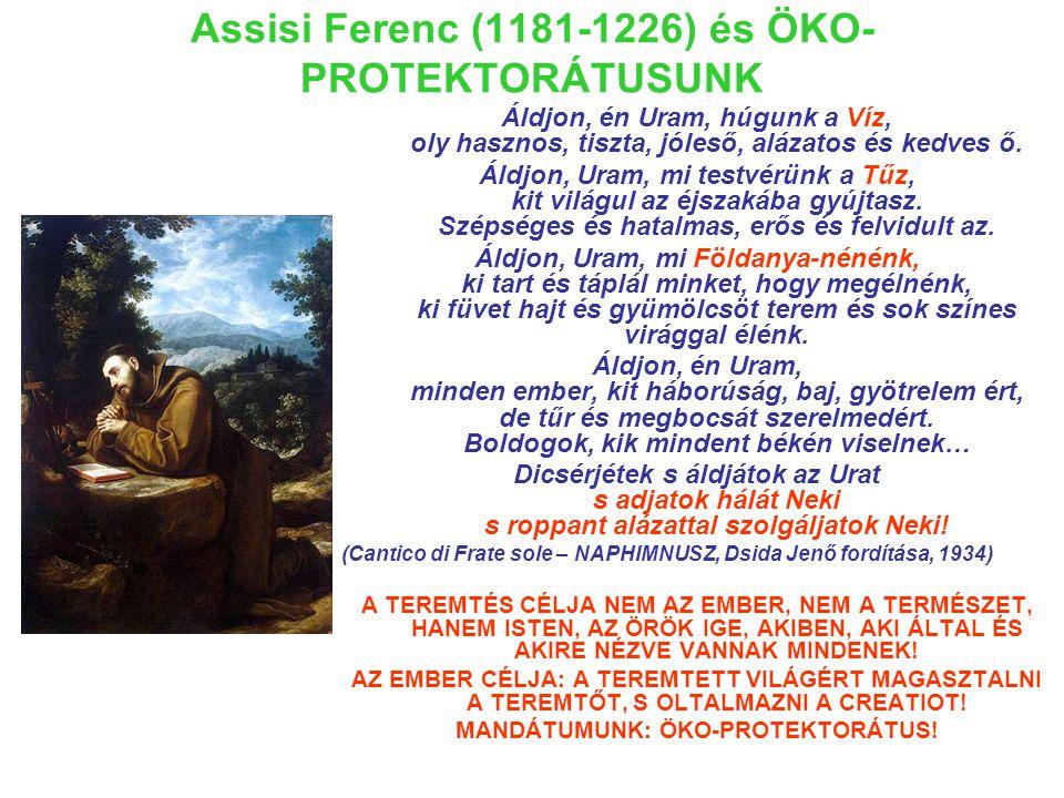 Assisi Ferenc (1181-1226) és ÖKO- PROTEKTORÁTUSUNK Áldjon, én Uram, húgunk a Víz, oly hasznos, tiszta, jóleső, alázatos és kedves ő.
