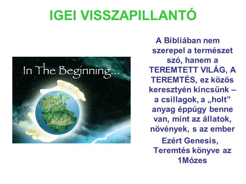 """IGEI VISSZAPILLANTÓ A Bibliában nem szerepel a természet szó, hanem a TEREMTETT VILÁG, A TEREMTÉS, ez közös keresztyén kincsünk – a csillagok, a """"holt anyag éppúgy benne van, mint az állatok, növények, s az ember Ezért Genesis, Teremtés könyve az 1Mózes"""