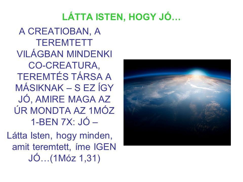 LÁTTA ISTEN, HOGY JÓ… A CREATIOBAN, A TEREMTETT VILÁGBAN MINDENKI CO-CREATURA, TEREMTÉS TÁRSA A MÁSIKNAK – S EZ ÍGY JÓ, AMIRE MAGA AZ ÚR MONDTA AZ 1MÓZ 1-BEN 7X: JÓ – Látta Isten, hogy minden, amit teremtett, íme IGEN JÓ…(1Móz 1,31)