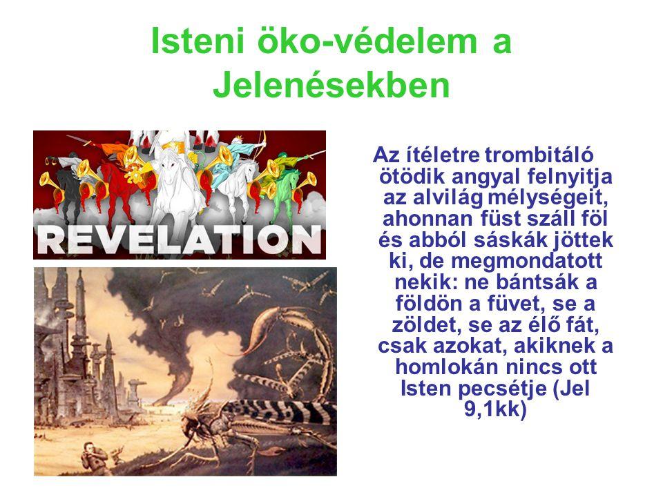 Isteni öko-védelem a Jelenésekben Az ítéletre trombitáló ötödik angyal felnyitja az alvilág mélységeit, ahonnan füst száll föl és abból sáskák jöttek ki, de megmondatott nekik: ne bántsák a földön a füvet, se a zöldet, se az élő fát, csak azokat, akiknek a homlokán nincs ott Isten pecsétje (Jel 9,1kk)