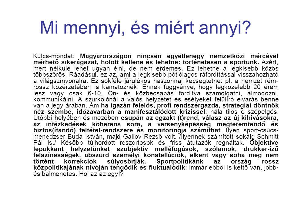 Mi mennyi, és miért annyi? Kulcs-mondat: Magyarországon nincsen egyetlenegy nemzetközi mércével mérhető sikerágazat, holott kellene és lehetne: történ