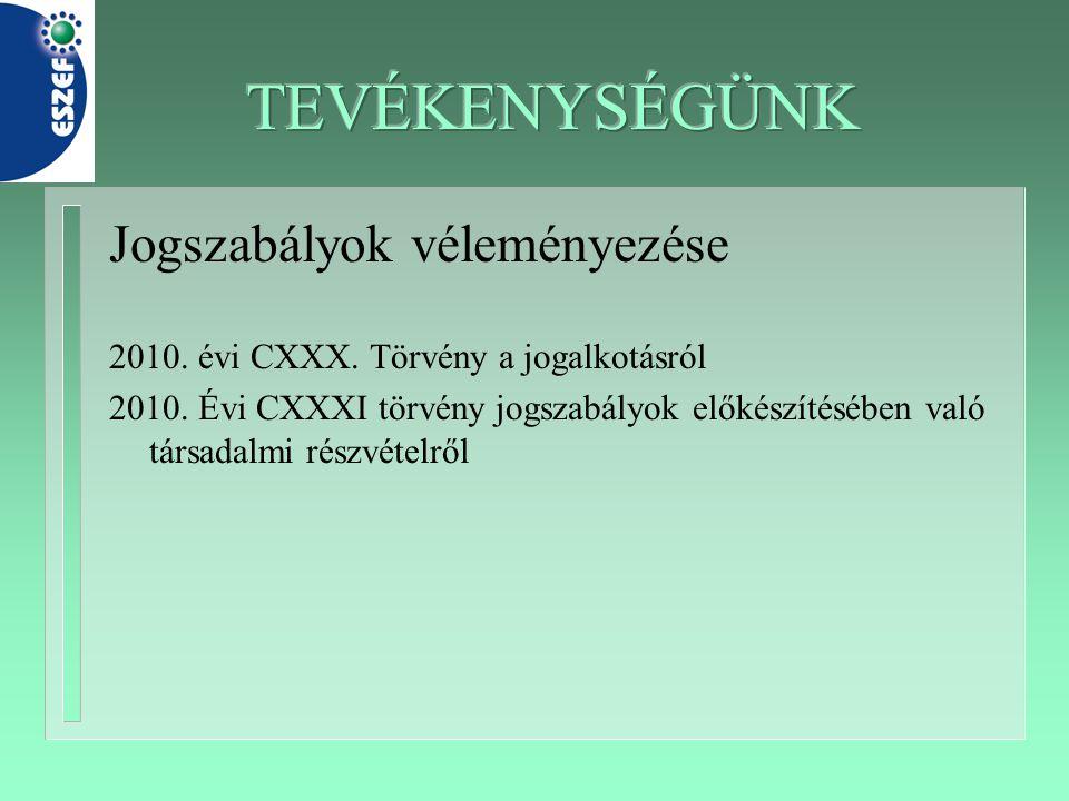 Jogszabályok véleményezése 2010. évi CXXX. Törvény a jogalkotásról 2010. Évi CXXXI törvény jogszabályok előkészítésében való társadalmi részvételről