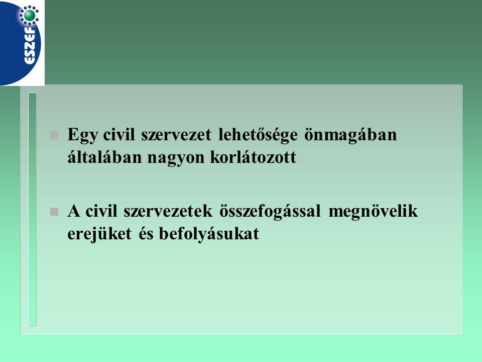n Egy civil szervezet lehetősége önmagában általában nagyon korlátozott n A civil szervezetek összefogással megnövelik erejüket és befolyásukat