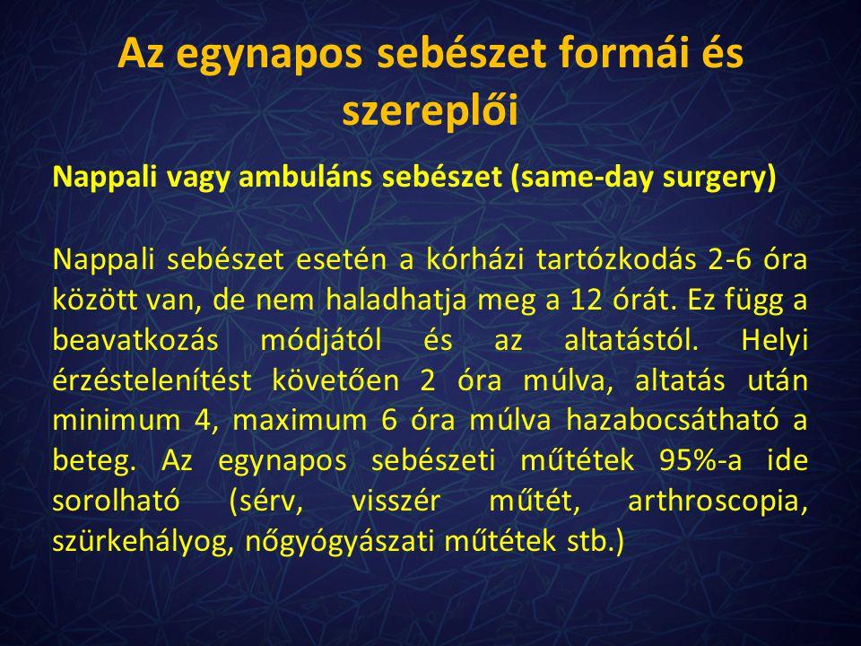 Az egynapos sebészet formái és szereplői Nappali vagy ambuláns sebészet (same-day surgery) Nappali sebészet esetén a kórházi tartózkodás 2-6 óra közöt