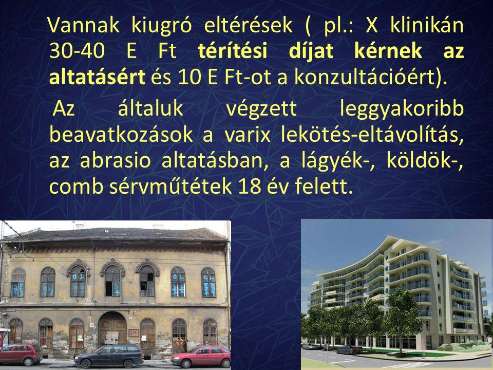 Vannak kiugró eltérések ( pl.: X klinikán 30-40 E Ft térítési díjat kérnek az altatásért és 10 E Ft-ot a konzultációért). Az általuk végzett leggyakor