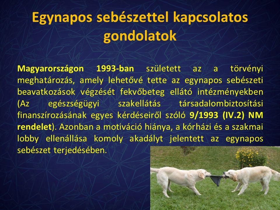 Egynapos sebészettel kapcsolatos gondolatok Magyarországon 1993-ban született az a törvényi meghatározás, amely lehetővé tette az egynapos sebészeti b