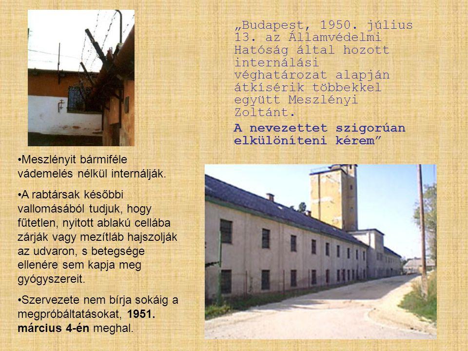 """""""Budapest, 1950. július 13. az Államvédelmi Hatóság által hozott internálási véghatározat alapján átkísérik többekkel együtt Meszlényi Zoltánt. A neve"""