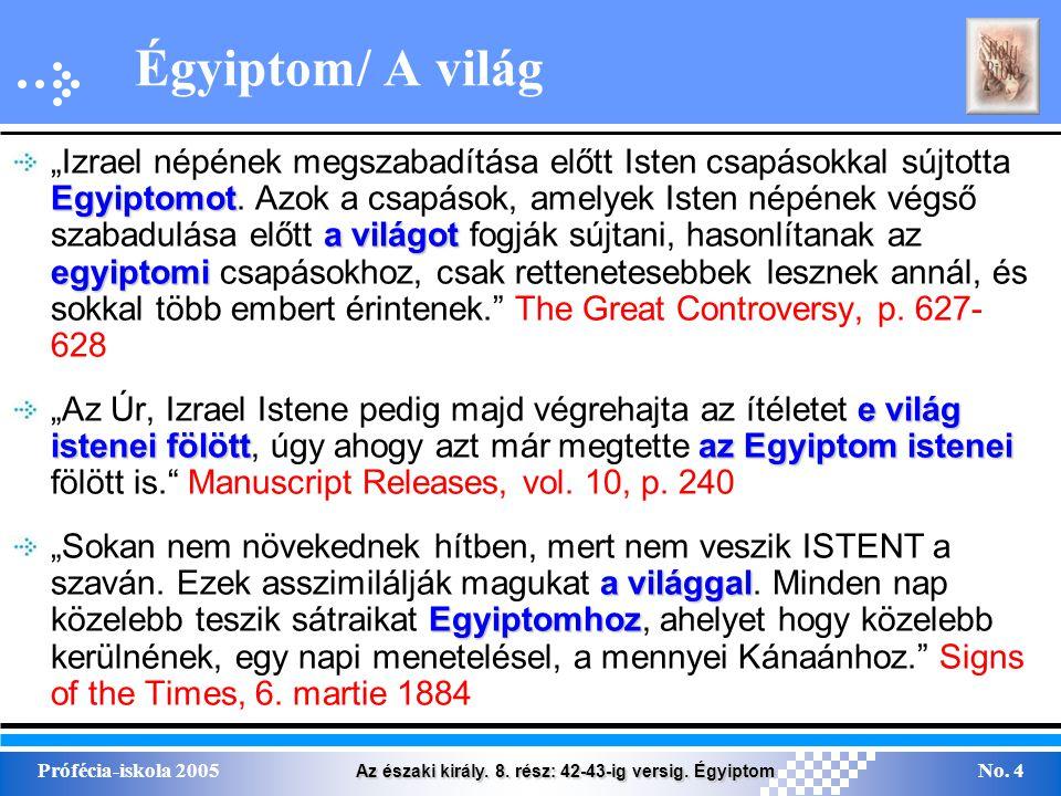 """Az északi király. 8. rész: 42-43-ig versig. Égyiptom Prófécia-iskola 2005No. 4 Égyiptom/ A világ Egyiptomot a világot egyiptomi """"Izrael népének megsza"""