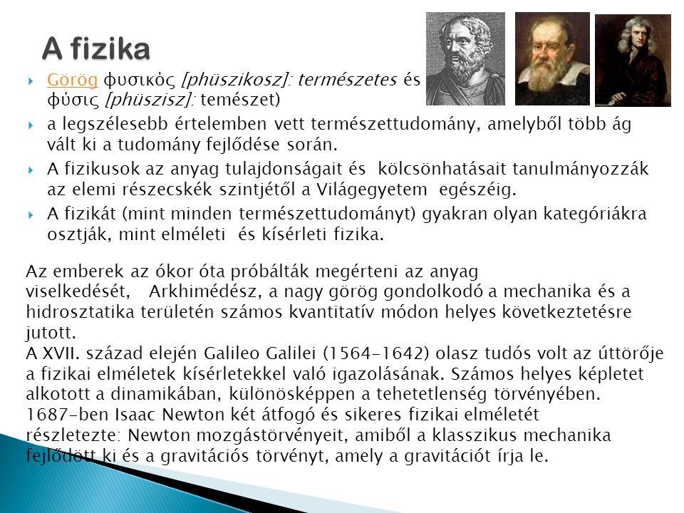  Görög φυσικός [phüszikosz]: természetes és φύσις [phüszisz]: temészet) Görög  a legszélesebb értelemben vett természettudomány, amelyből több ág vált ki a tudomány fejlődése során.