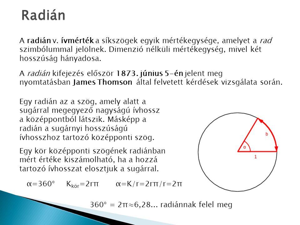 A radián v.ívmérték a síkszögek egyik mértékegysége, amelyet a rad szimbólummal jelölnek.