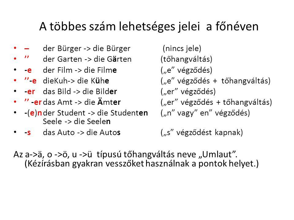 """A többes szám lehetséges jelei a főnéven ̶- der Bürger -> die Bürger (nincs jele) '' der Garten -> die Gärten(tőhangváltás) -eder Film -> die Filme(""""e végződés) ''-edieKuh-> die Kühe(""""e végződés + tőhangváltás) -erdas Bild -> die Bilder(""""er végződés) '' -erdas Amt -> die Ämter(""""er végződés + tőhangváltás) -(e)nder Student -> die Studenten(""""n vagy en végződés) Seele -> die Seelen -sdas Auto -> die Autos(""""s végződést kapnak) Az a->ä, o ->ö, u ->ü típusú tőhangváltás neve """"Umlaut ."""