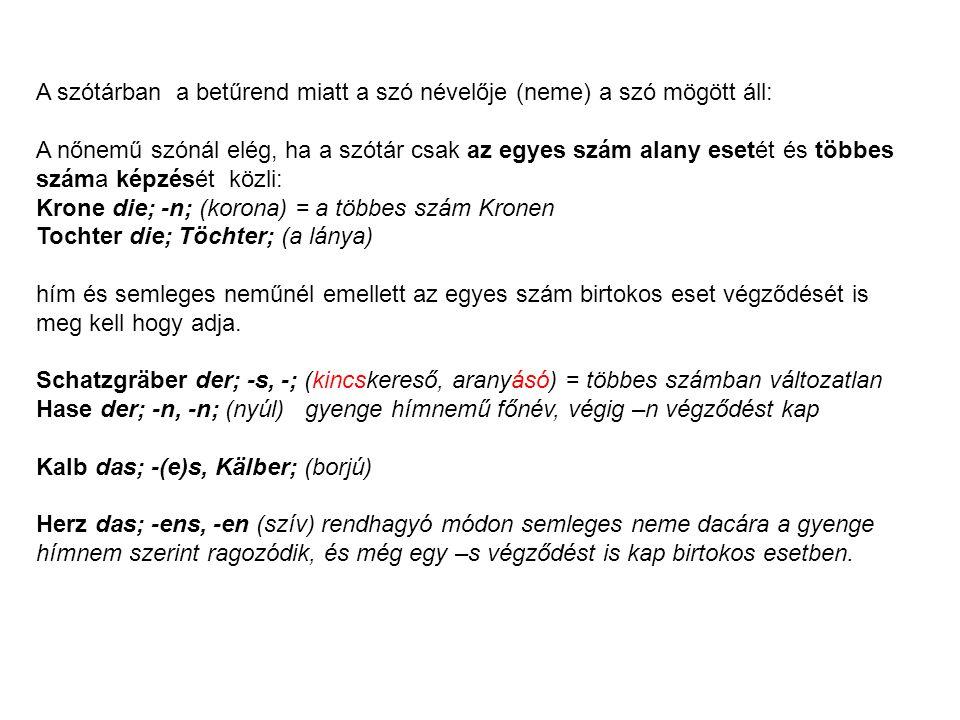 A szótárban a betűrend miatt a szó névelője (neme) a szó mögött áll: A nőnemű szónál elég, ha a szótár csak az egyes szám alany esetét és többes száma képzését közli: Krone die; -n; (korona) = a többes szám Kronen Tochter die; Töchter; (a lánya) hím és semleges neműnél emellett az egyes szám birtokos eset végződését is meg kell hogy adja.