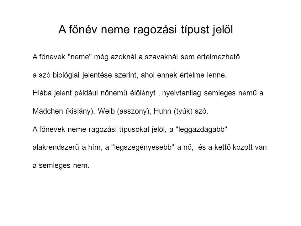 A főnevek neme még azoknál a szavaknál sem értelmezhető a szó biológiai jelentése szerint, ahol ennek értelme lenne.