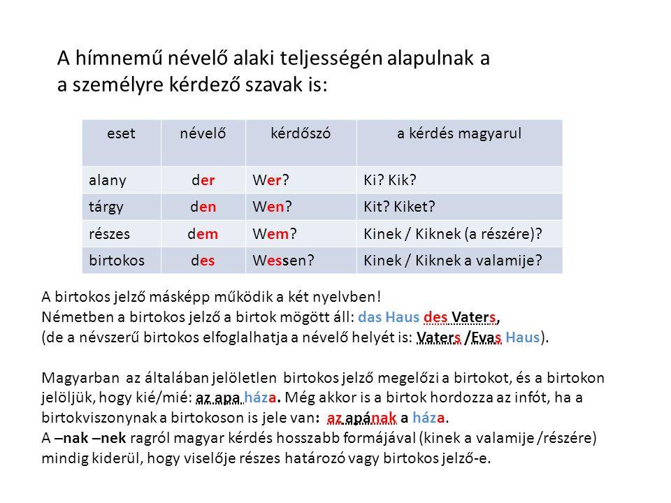 A hímnemű névelő alaki teljességén alapulnak a a személyre kérdező szavak is: esetnévelőkérdőszóa kérdés magyarul alanyderWer?Ki.