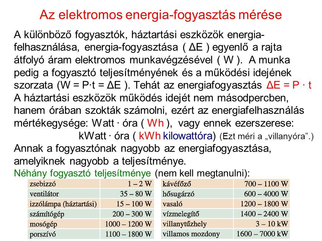 Az elektromos energia-fogyasztás mérése A különböző fogyasztók, háztartási eszközök energia- felhasználása, energia-fogyasztása ( ΔE ) egyenlő a rajta