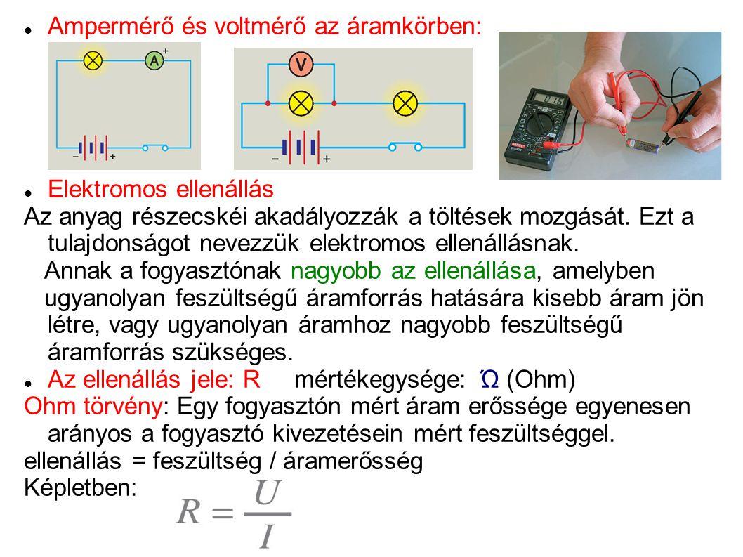 Ampermérő és voltmérő az áramkörben: Elektromos ellenállás Az anyag részecskéi akadályozzák a töltések mozgását. Ezt a tulajdonságot nevezzük elektrom