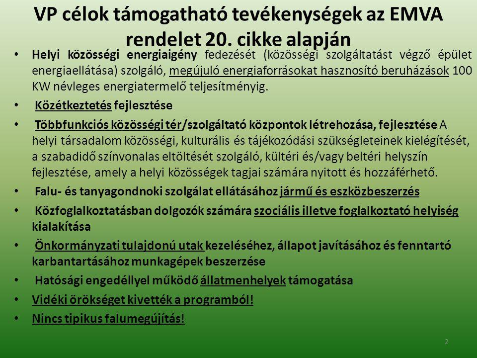 VP célok támogatható tevékenységek az EMVA rendelet 20.
