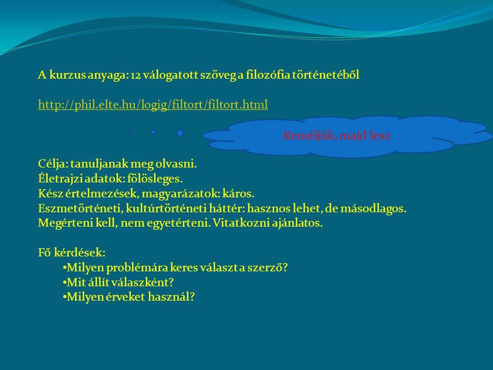 A kurzus anyaga: 12 válogatott szöveg a filozófia történetéből http://phil.elte.hu/logig/filtort/filtort.html Célja: tanuljanak meg olvasni.