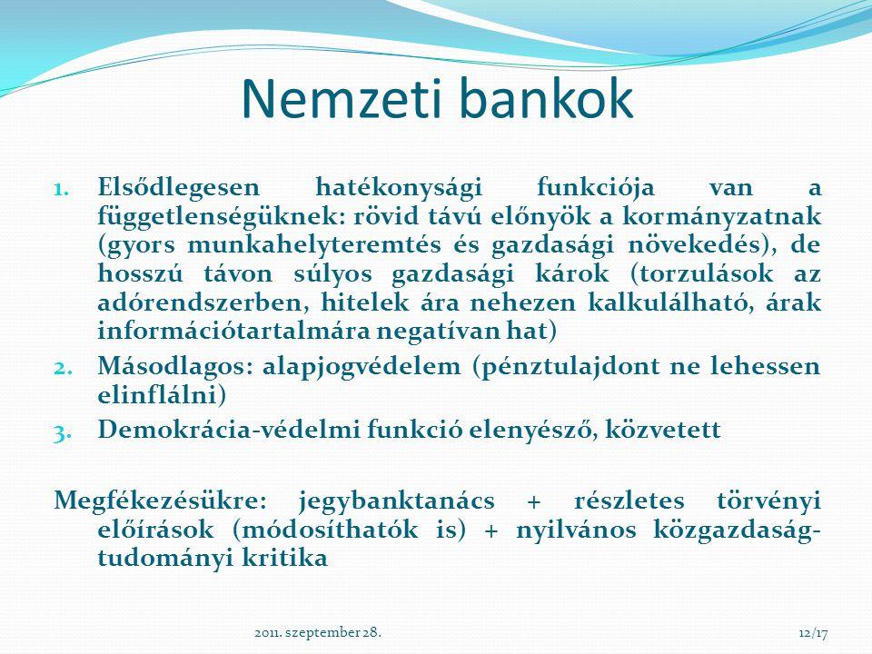 Nemzeti bankok 1. Elsődlegesen hatékonysági funkciója van a függetlenségüknek: rövid távú előnyök a kormányzatnak (gyors munkahelyteremtés és gazdaság