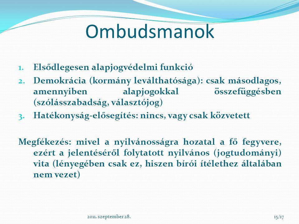 Ombudsmanok 1. Elsődlegesen alapjogvédelmi funkció 2. Demokrácia (kormány leválthatósága): csak másodlagos, amennyiben alapjogokkal összefüggésben (sz