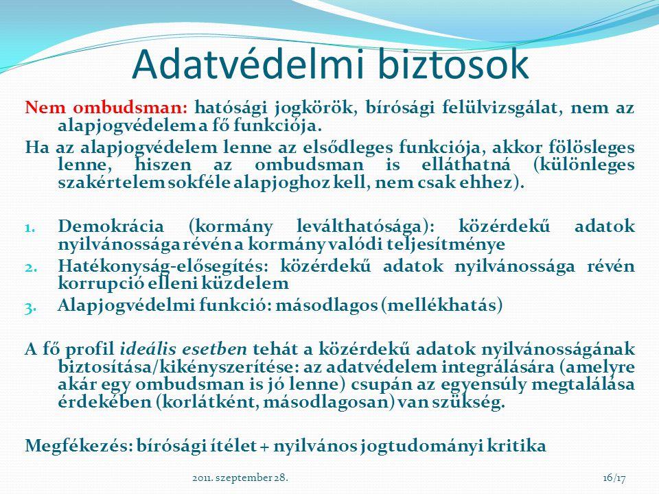 Adatvédelmi biztosok Nem ombudsman: hatósági jogkörök, bírósági felülvizsgálat, nem az alapjogvédelem a fő funkciója.