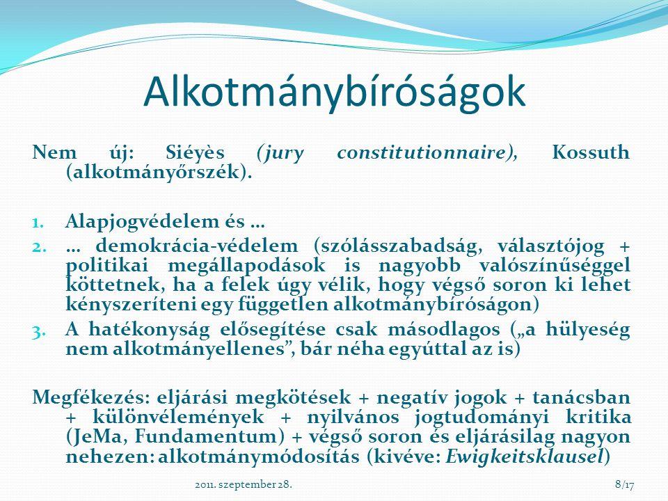 Alkotmánybíróságok Nem új: Siéyès (jury constitutionnaire), Kossuth (alkotmányőrszék). 1. Alapjogvédelem és … 2. … demokrácia-védelem (szólásszabadság