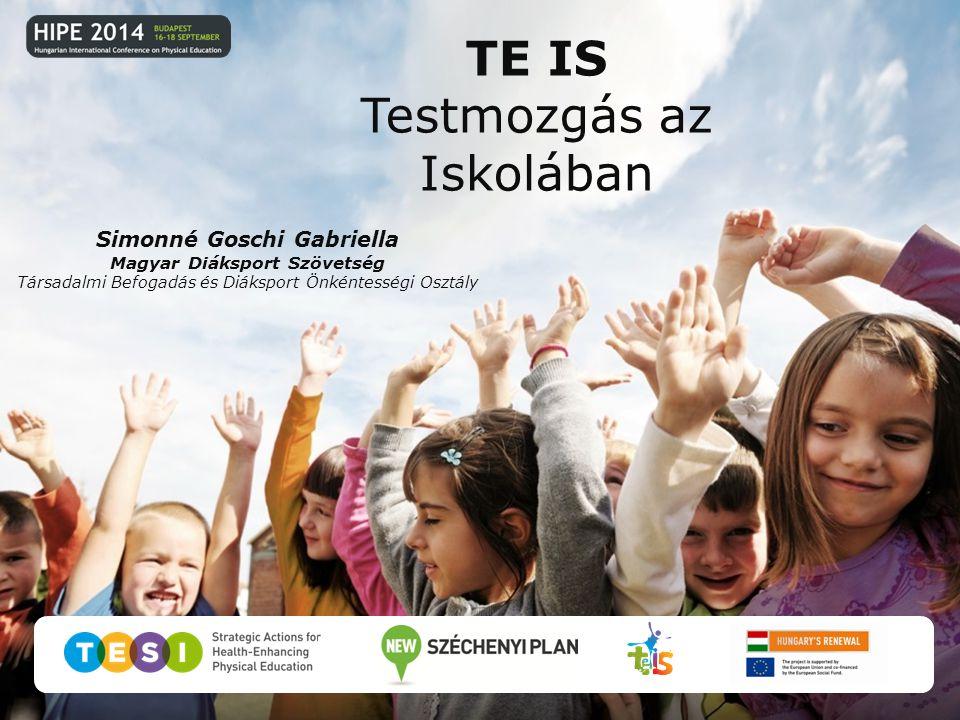 Simonné Goschi Gabriella Magyar Diáksport Szövetség Társadalmi Befogadás és Diáksport Önkéntességi Osztály TE IS Testmozgás az Iskolában