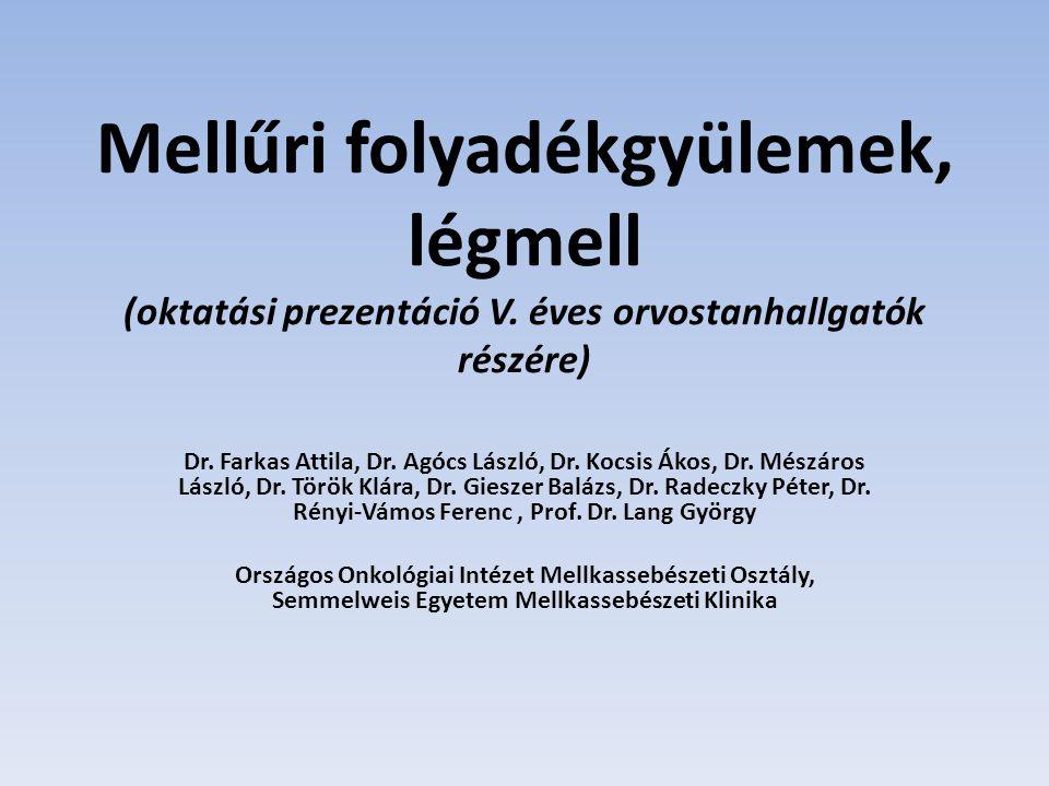 Mellűri folyadékgyülemek, légmell (oktatási prezentáció V. éves orvostanhallgatók részére) Dr. Farkas Attila, Dr. Agócs László, Dr. Kocsis Ákos, Dr. M
