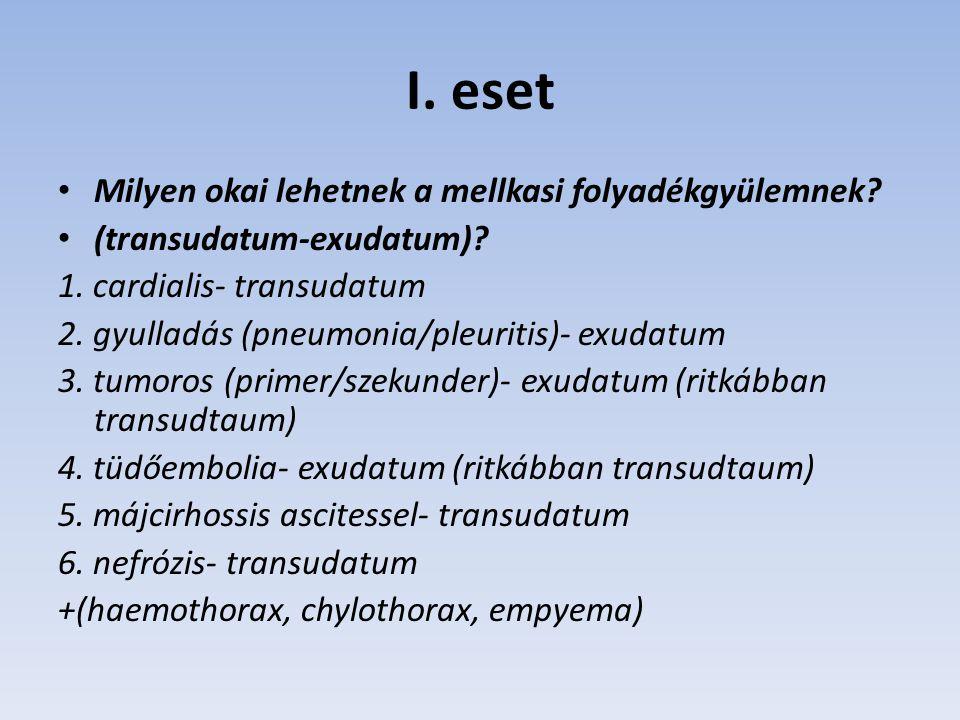 I. eset Milyen okai lehetnek a mellkasi folyadékgyülemnek? (transudatum-exudatum)? 1. cardialis- transudatum 2. gyulladás (pneumonia/pleuritis)- exuda
