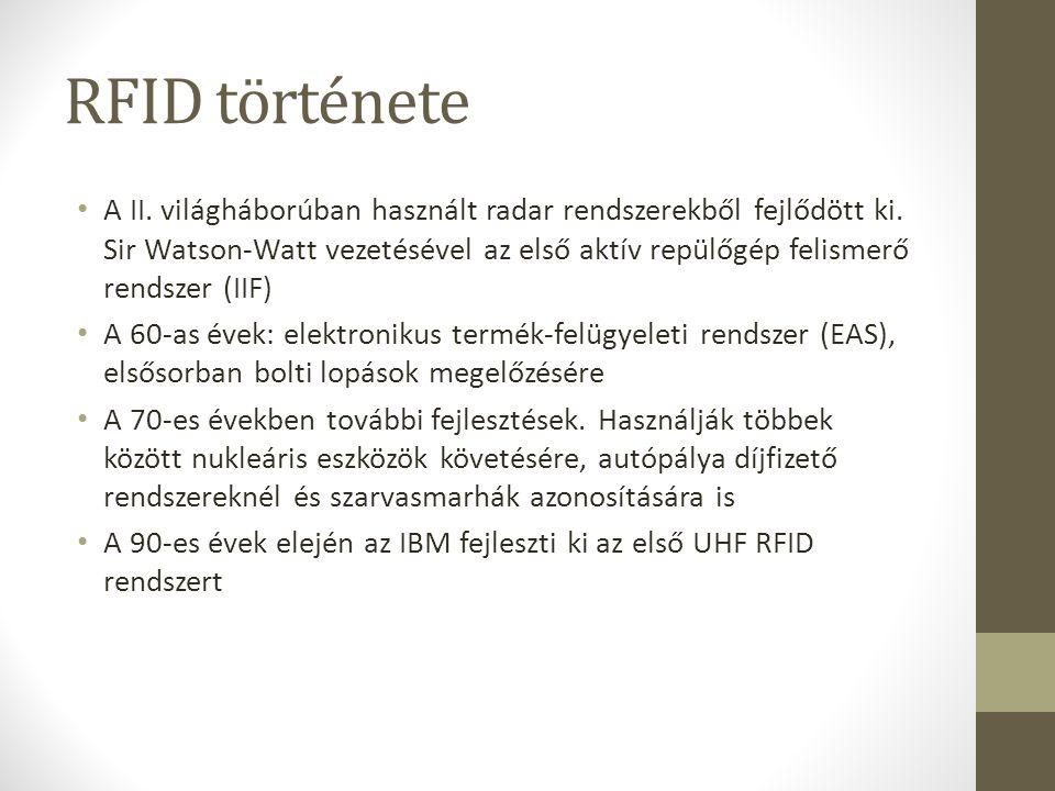 RFID története 1999: Auto-ID Center.Csak egy sorozatszámot tárolnak a tag- ek.