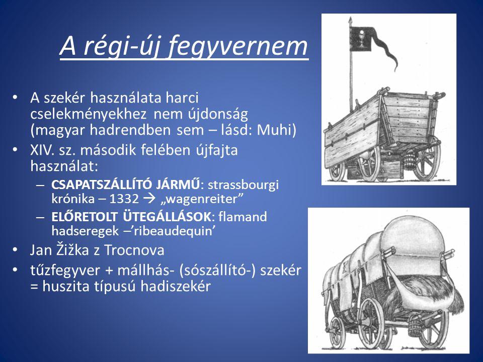 A régi-új fegyvernem A szekér használata harci cselekményekhez nem újdonság (magyar hadrendben sem – lásd: Muhi) XIV.
