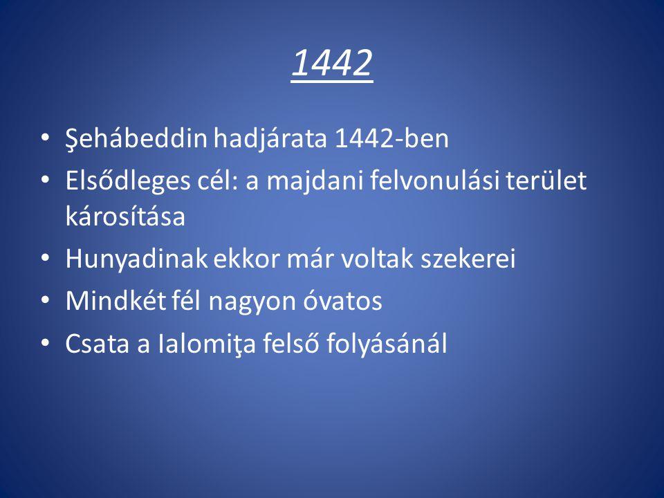 1442 Şehábeddin hadjárata 1442-ben Elsődleges cél: a majdani felvonulási terület károsítása Hunyadinak ekkor már voltak szekerei Mindkét fél nagyon óvatos Csata a Ialomiţa felső folyásánál