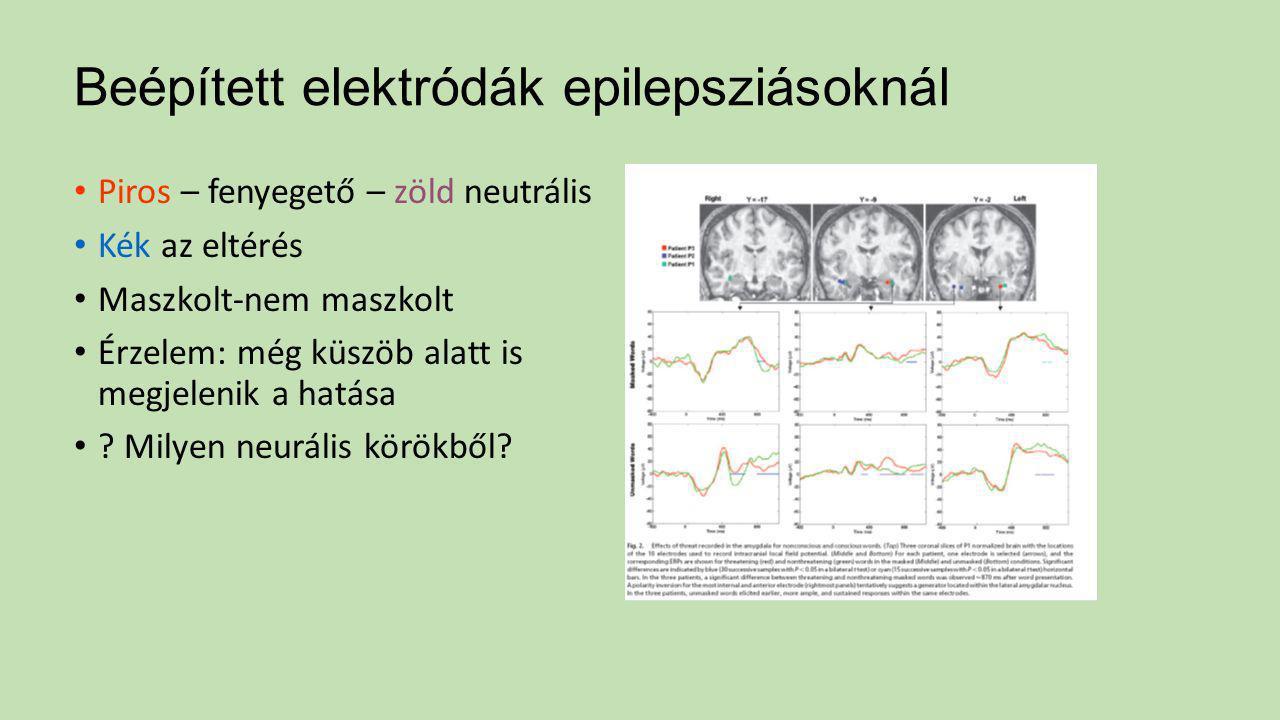 Beépített elektródák epilepsziásoknál Piros – fenyegető – zöld neutrális Kék az eltérés Maszkolt-nem maszkolt Érzelem: még küszöb alatt is megjelenik