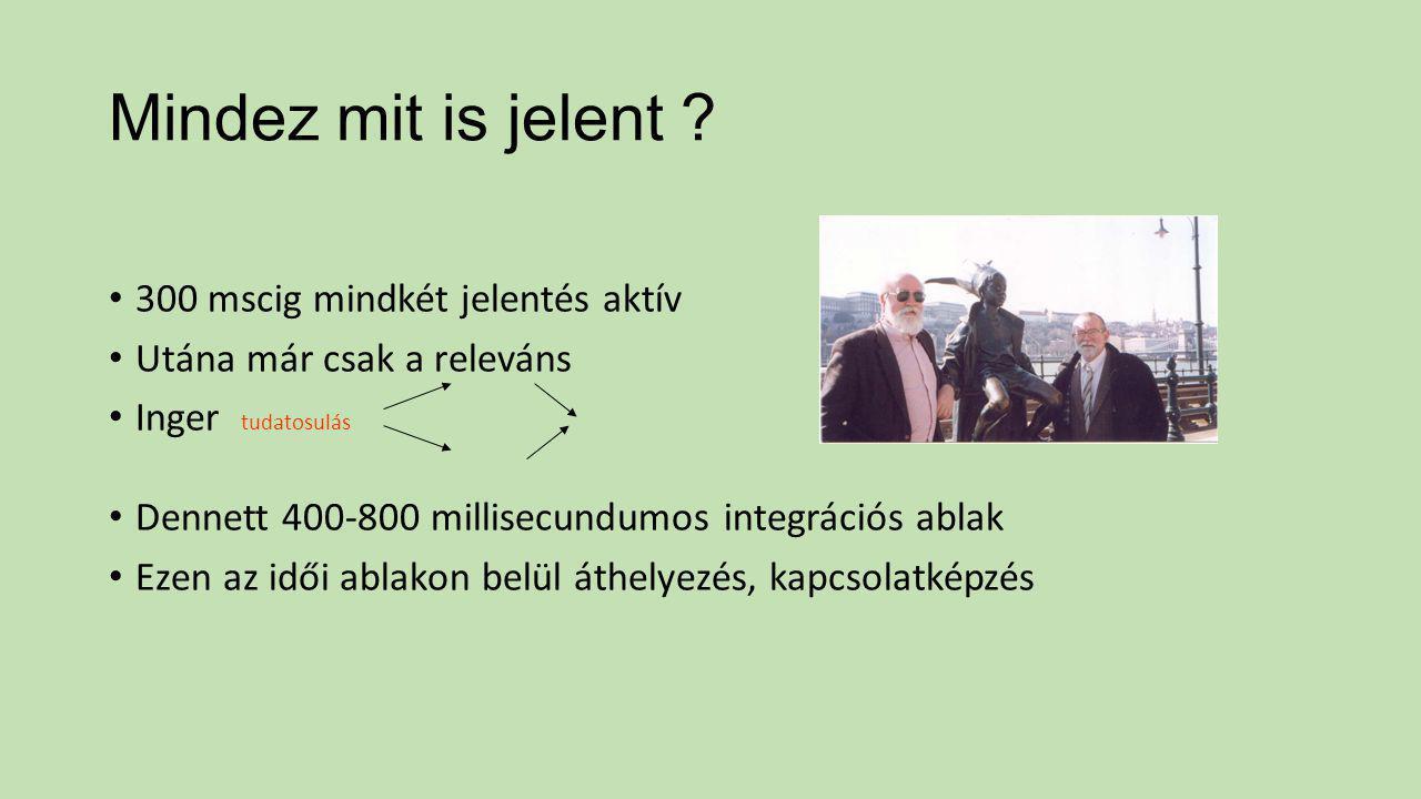 Mindez mit is jelent ? 300 mscig mindkét jelentés aktív Utána már csak a releváns Inger tudatosulás Dennett 400-800 millisecundumos integrációs ablak