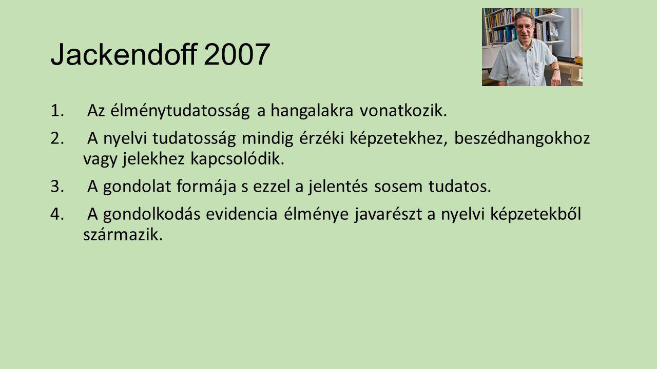 Jackendoff 2007 1. Az élménytudatosság a hangalakra vonatkozik. 2. A nyelvi tudatosság mindig érzéki képzetekhez, beszédhangokhoz vagy jelekhez kapcso