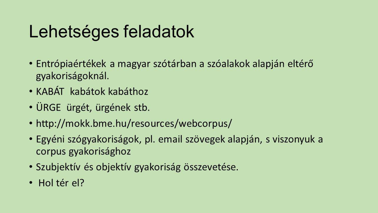 Lehetséges feladatok Entrópiaértékek a magyar szótárban a szóalakok alapján eltérő gyakoriságoknál. KABÁT kabátok kabáthoz ÜRGE ürgét, ürgének stb. ht
