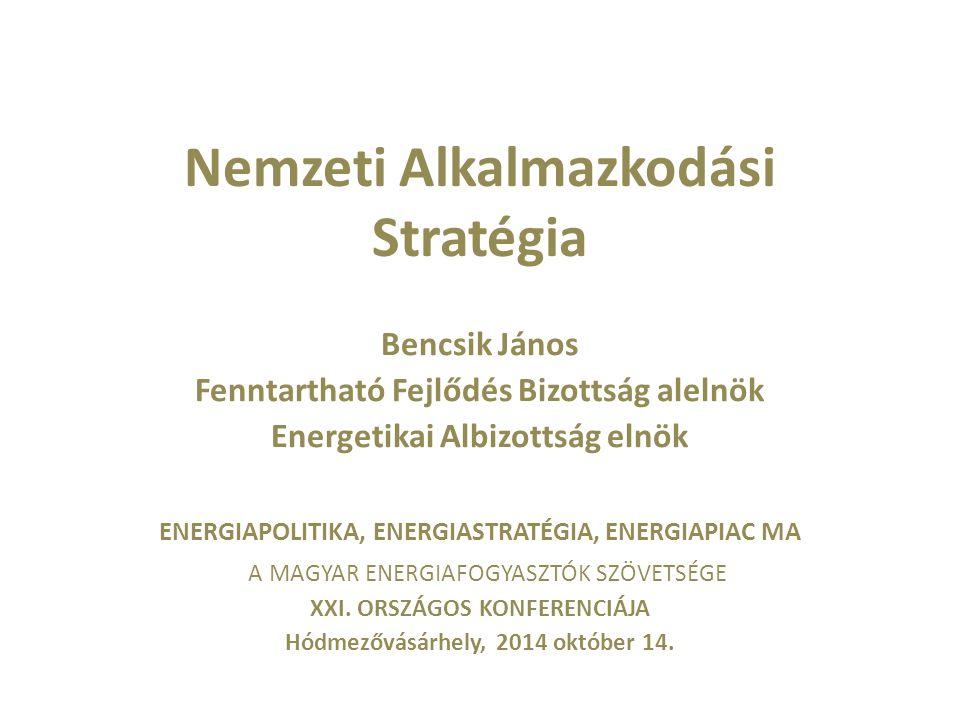 """""""Egy öt esztendővel ezelőtti dia Fenntarthatóság = megmaradás >Összkormányzati szinten koordinált alkalmazkodási stratégiára, ágazati politikákba integrált cselekvési tervekre van szükség >Elsődleges nemzetbiztonsági szempontok: >demográfiai helyzetünk stabilizálása és fejlesztése >az élelmiszer önrendelkezés biztosítása >az energiafüggésünk csökkentése >vízkormányzási, hidrológiai fejlesztések megvalósítása >Katasztrófavédelem felkészítése és megerősítése >kockázatelemzés a kritikus infrastruktúra típusokra >a lakosság és a gazdasági szereplők környezeti tudatosságának növelése"""