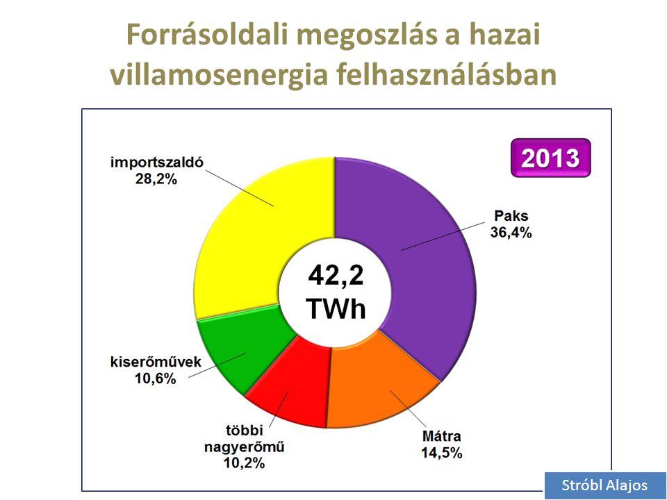 Forrásoldali megoszlás a hazai villamosenergia felhasználásban Stróbl Alajos