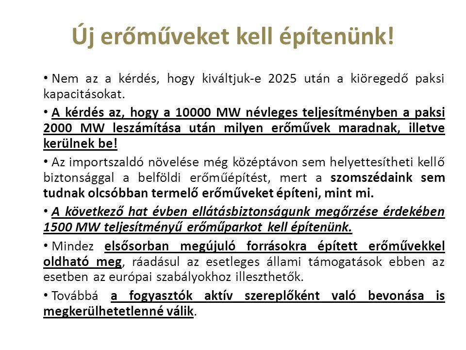 Új erőműveket kell építenünk! Nem az a kérdés, hogy kiváltjuk-e 2025 után a kiöregedő paksi kapacitásokat. A kérdés az, hogy a 10000 MW névleges telje