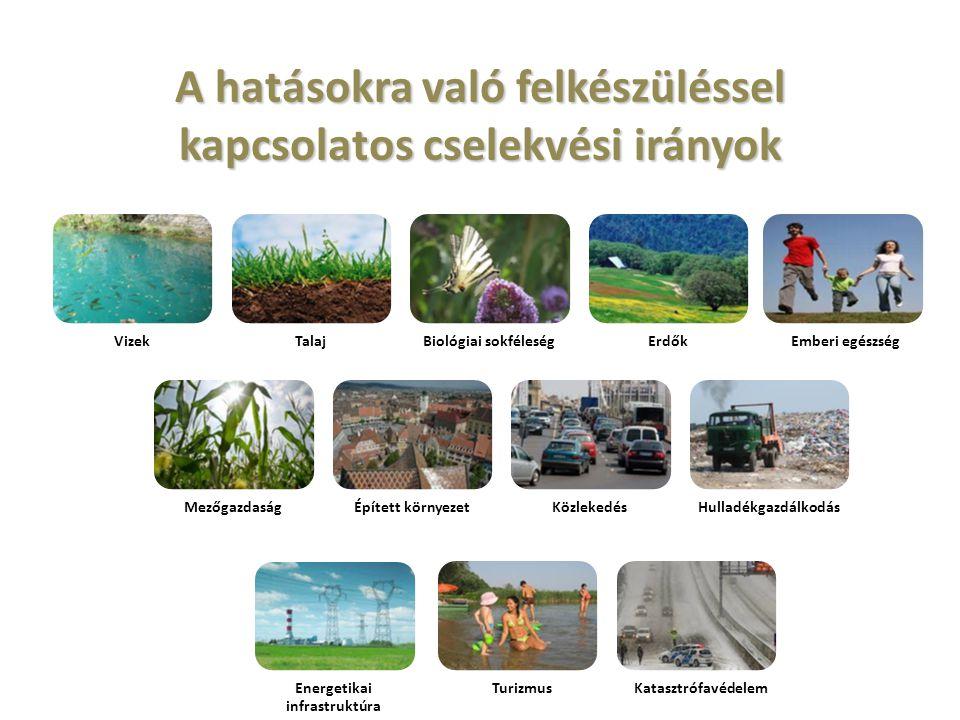 A hatásokra való felkészüléssel kapcsolatos cselekvési irányok VizekTalajBiológiai sokféleségErdőkEmberi egészség MezőgazdaságÉpített környezetKözleke
