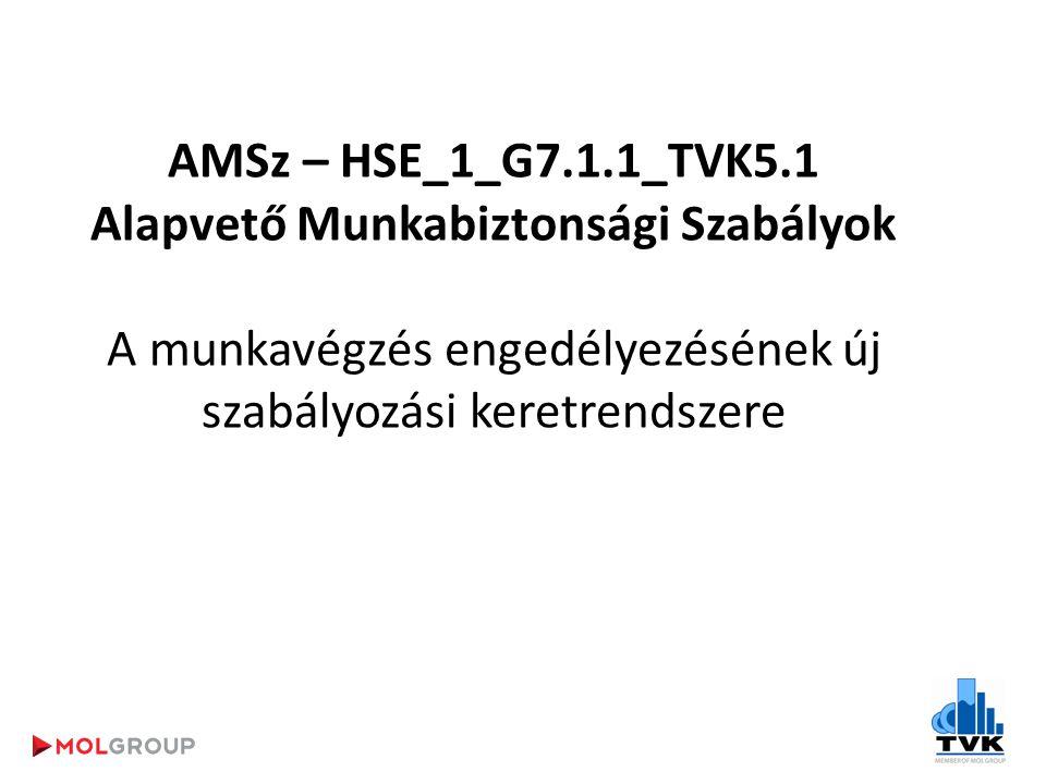AMSz – HSE_1_G7.1.1_TVK5.1 Alapvető Munkabiztonsági Szabályok A munkavégzés engedélyezésének új szabályozási keretrendszere