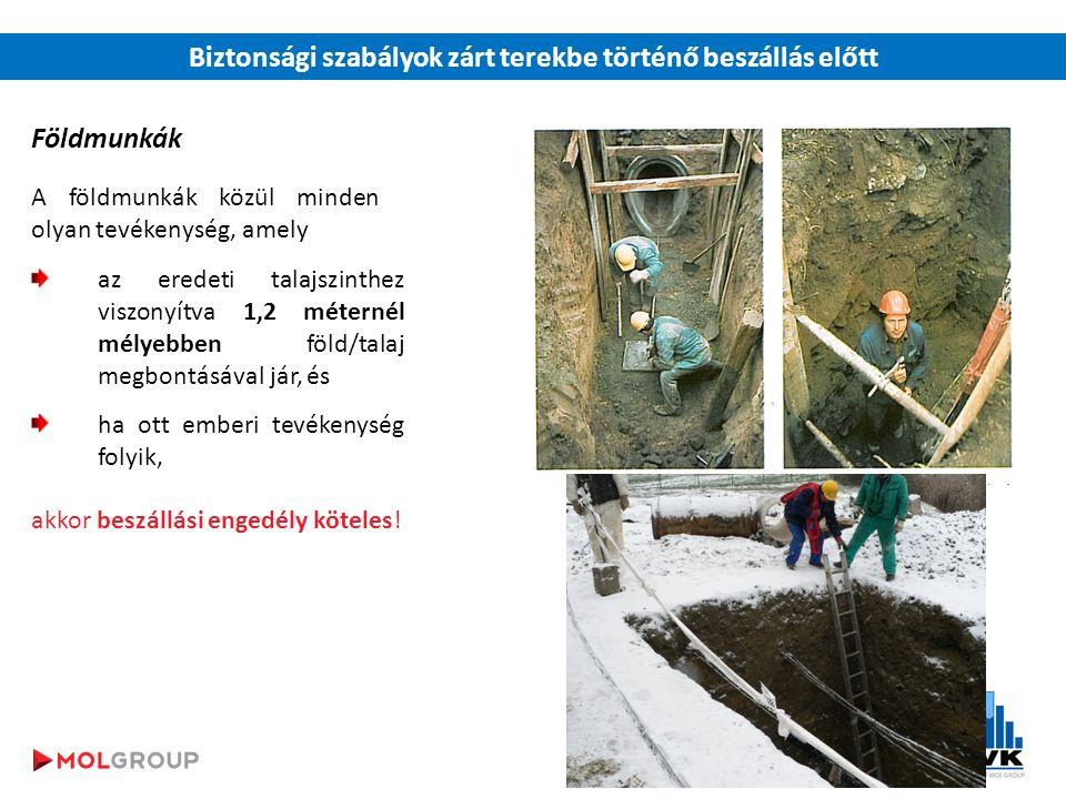 Biztonsági szabályok zárt terekbe történő beszállás előtt Földmunkák A földmunkák közül minden olyan tevékenység, amely az eredeti talajszinthez viszonyítva 1,2 méternél mélyebben föld/talaj megbontásával jár, és ha ott emberi tevékenység folyik, akkor beszállási engedély köteles!