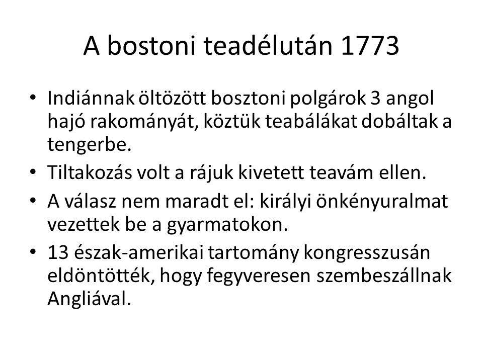 A bostoni teadélután 1773 Indiánnak öltözött bosztoni polgárok 3 angol hajó rakományát, köztük teabálákat dobáltak a tengerbe. Tiltakozás volt a rájuk