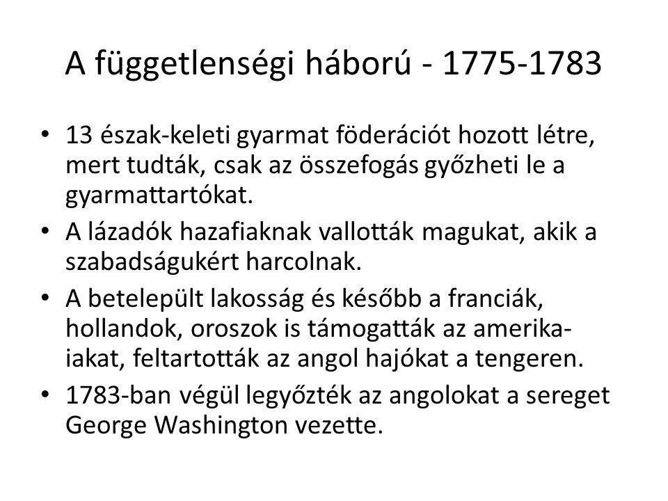 A függetlenségi háború - 1775-1783 13 észak-keleti gyarmat föderációt hozott létre, mert tudták, csak az összefogás győzheti le a gyarmattartókat. A l