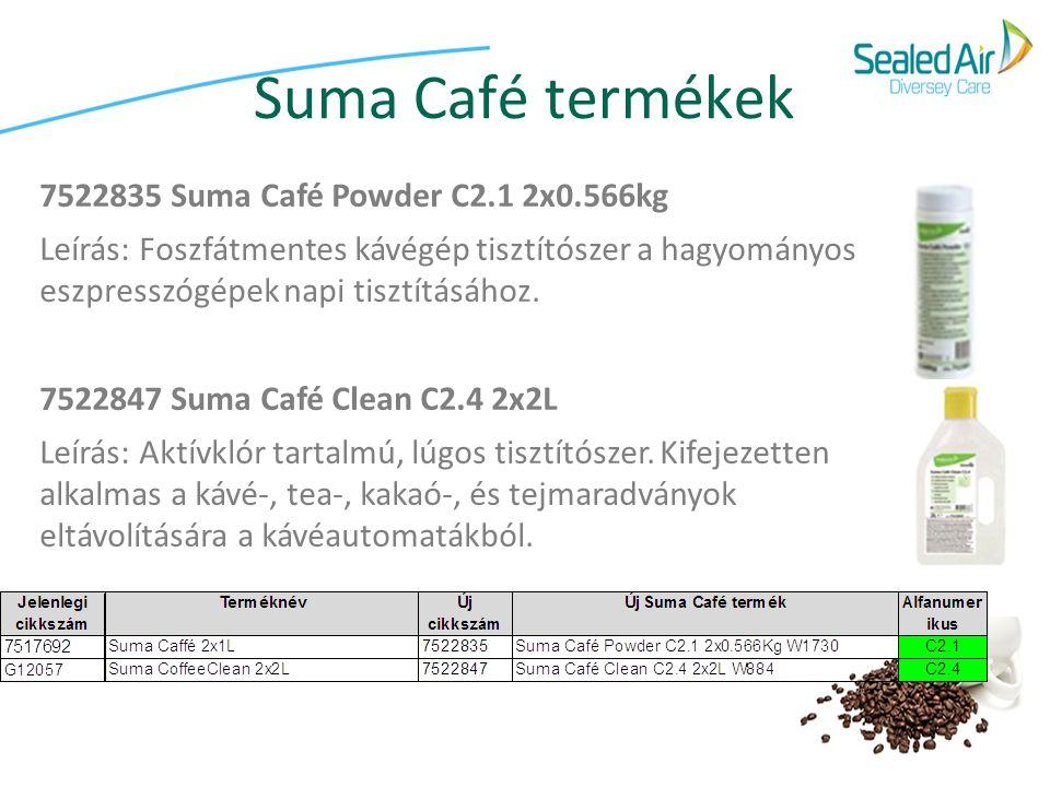 Suma Café termékek 7522835 Suma Café Powder C2.1 2x0.566kg Leírás: Foszfátmentes kávégép tisztítószer a hagyományos eszpresszógépek napi tisztításához.