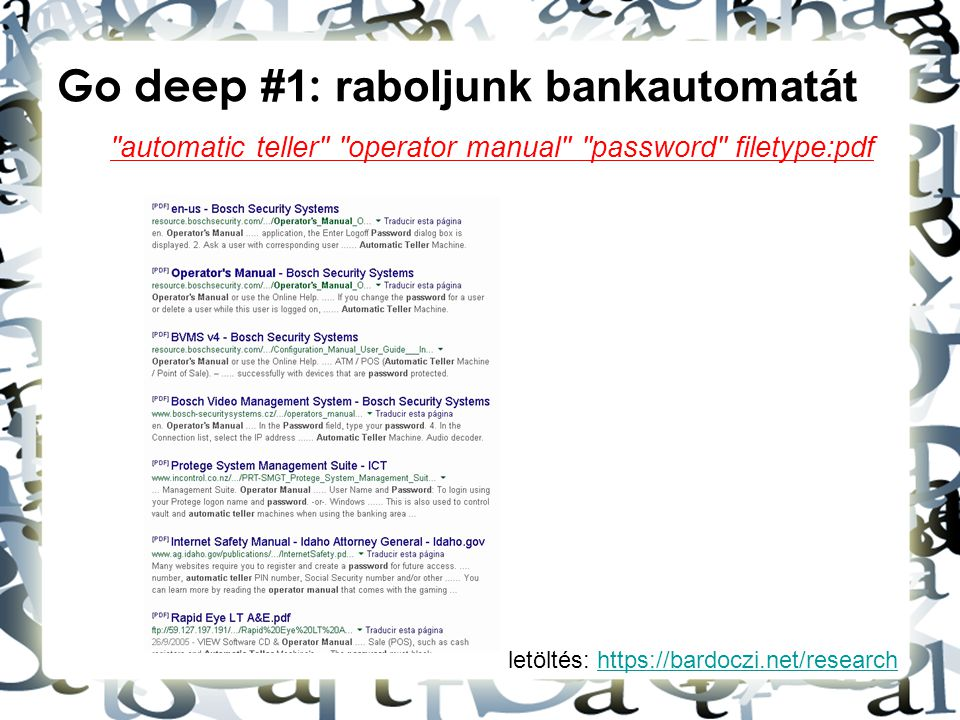 letöltés: https://bardoczi.net/researchhttps://bardoczi.net/research Go deep #1 : raboljunk bankautomatát automatic teller operator manual password filetype:pdf