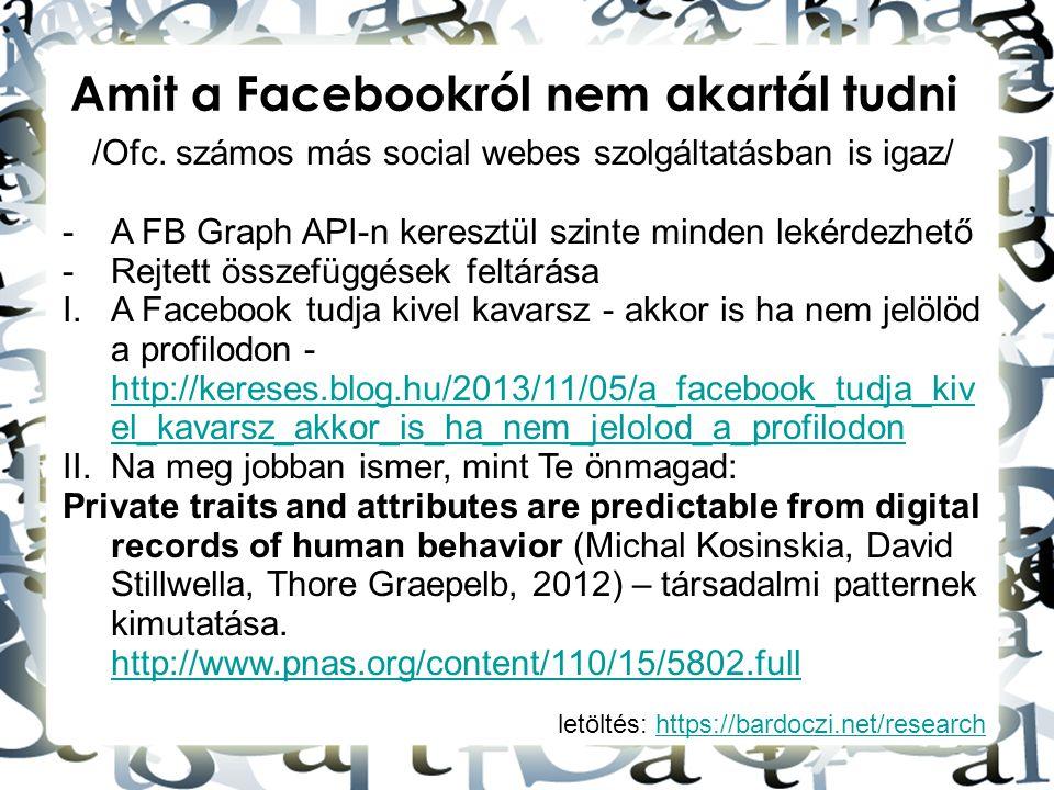 letöltés: https://bardoczi.net/researchhttps://bardoczi.net/research Amit a Facebookról nem akartál tudni /Ofc. számos más social webes szolgáltatásba